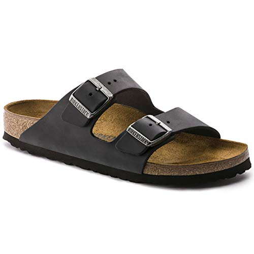 (Birkenstock Unisex Arizona Soft Footbed Suede Sandals, Black - 41 W EU)