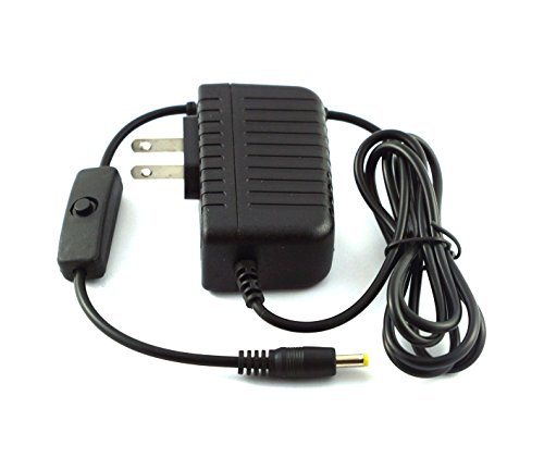 LoveRPi 2.5A 4.0mm x 1.7mm Barrel Plug Power Supply Adapter Charger with Inline Click On/Off Power Switch