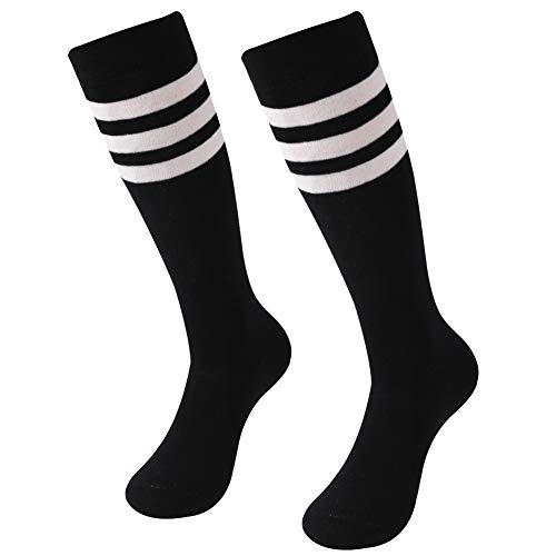 Unisex Football Socks,SUTTOS Adult Youth Royal Blue Solid Comfort Moisture-Wicking Soccer Baseball Team Long Tube Sock White Black on Color Stripes Uniform School Team Socks 2-Pair - Youth Solid Sock Football