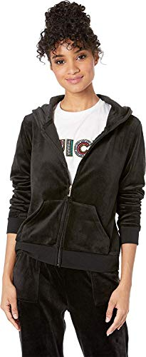 Juicy Couture Women's Glitter with Rhinstones Logo Hoodie Pitch Black Medium