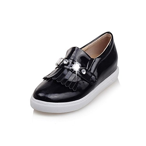 AllhqFashion Womens Low-Heels Solid Pull-On Soft Material Round Closed Toe Pumps-Shoes Black 6nMKvCH