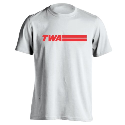 Retro TWA Airlines Old School Hip Cool Mens Shirt Large White