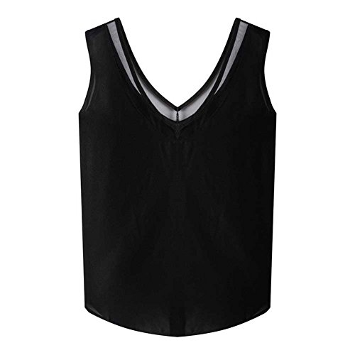 ESHOO - Camisa deportiva - Sin mangas - para mujer negro