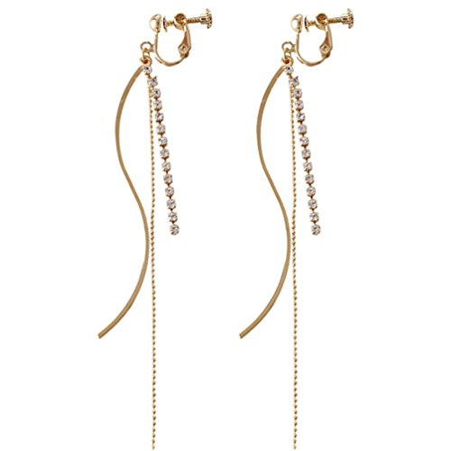 (Screw Back Clip on Earring Clip for No Piercing Crystal Long Tassel Dangle Gold Plated for Teens)