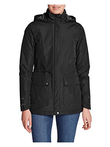 (Eddie Bauer Women's Rainfoil Fleece-Lined Parka, Black Petite XS )