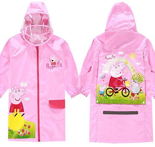Boy Girl Children Kids Cartoon Peppa Pig Waterproof Raincoat Poncho (XXL)]()