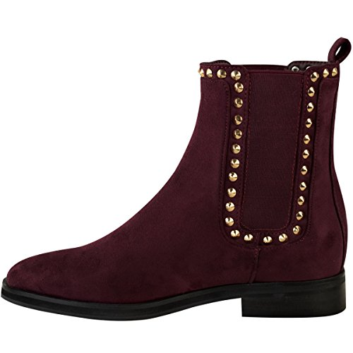 Fashion Thirsty Womens Ladies Flat Black Chelsea Ankle Boots Gold Stud Pull On Comfort Size Burgundy Faux Suede / Dark Red f4CBKXZ