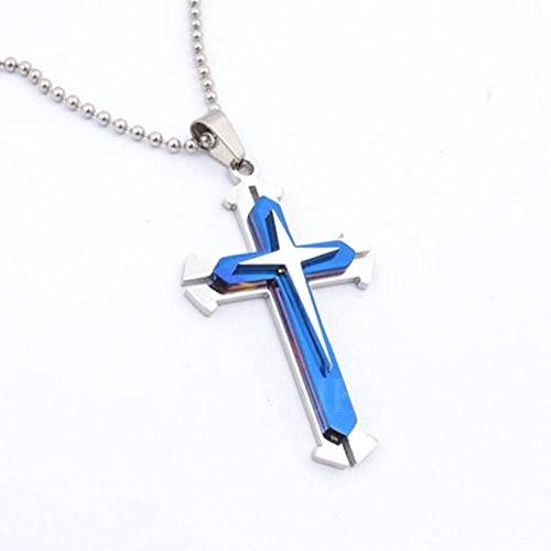 Primepanda Necklace - 18g Blue Silver Stainless Steel Titanium Cross Pendant Men's Necklace Chain Length 48cm