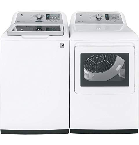 "GE Top Load Smart GTW755CSMWS 27″"" Washer with Front Load GTD75ECSLWS Electric Dryer Laundry Pair in White"