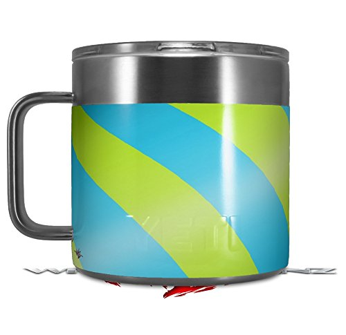 Skin Decal Wrap for Yeti Coffee Mug 14oz Two Tone Waves Neon Green Teal - 14 oz CUP NOT INCLUDED by WraptorSkinz