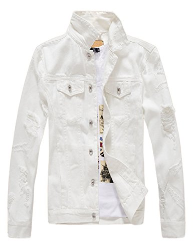 DSDZ Men`s Classic Ripped Hip Hop Motorcycle Denim Jacket White US S