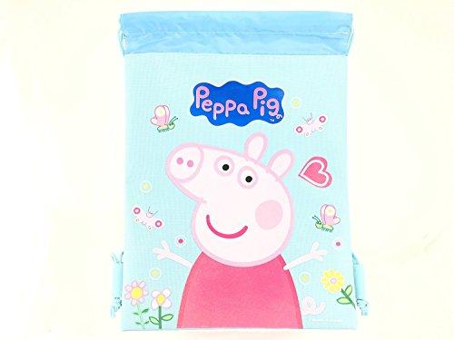 Cheap Peppa Pig Drawstrings String Backpack Sling Tote Bag (Blue)