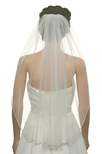1T 1 Tier Crystal Pearl Wave Beaded Veil - Ivory Fingertip Length 36
