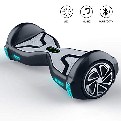 TOMOLOO Hover Boards for Kids, Hoverboard Adult with Bluetooth Speaker and LED Light, 6.5″ Two Wheels Self Balancing Hoverboard Electric Scooter