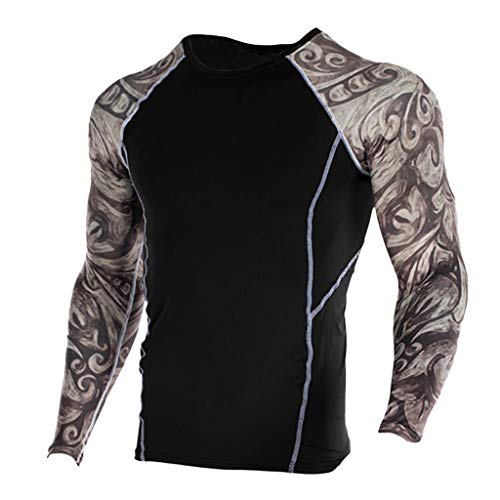 Outique Men's Compression Sports Fitness Shirt,Fashion Yoga Soft T-Shirt Quick-Drying Printing Top Blouse Jacket Gym