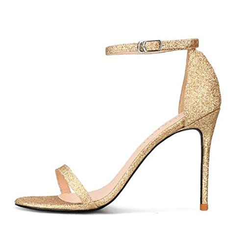 Toe 10CM 40 Ladies Commercio Sposa Stiletto da da Alti Cinturino Alla Caviglia Peep Gold Tacchi Partito da Sandali Estate Scarpe Donna Sera Paillettes Fibbia wBYrqgxAB