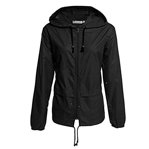 Vertvie Mens Women Windproof Waterproof Rain Coat Softshell Windbreaker Jacket(L,Black)