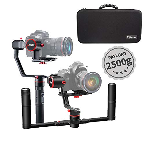 FeiyuTech a2000 3-Axis Handheld Gimbal Stabilizer with Dual Hand Grip Kit for DSLR Camera,Nikon/Sony/Canon Series DSLR Camera and Lens,2500g Payload - Grips Automatic