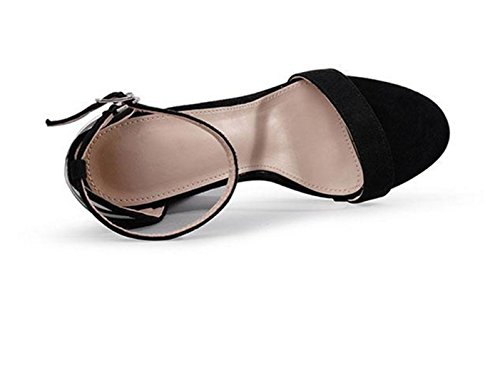 Schwarz High Frauen Persönlichkeit Heel Ferse Rom Absatz spitze HETAO Geschenk Sandalen Schnalle Fashionmetal Schuhe Wort Offene Mädchen AqwdxvaCn