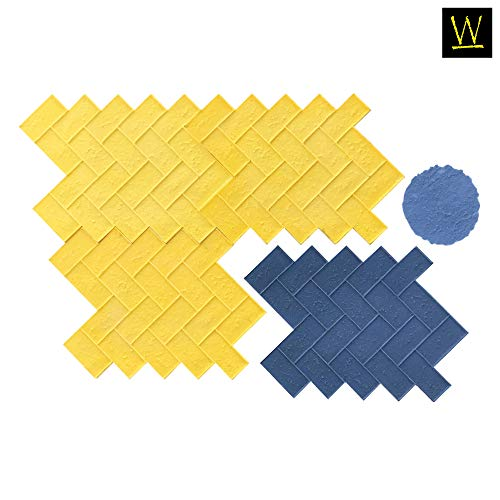 Olde Town Herringbone Brick Concrete Stamp Set by Walttools   Classic Woven Paver Pattern, Sturdy Polyurethane Texturing Mats, Decorative Realistic Detail (8 -
