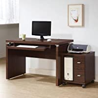 Coaster Clark Computer Desk in Brown Finish, Features a Floating Top and a Keyboard Drawer