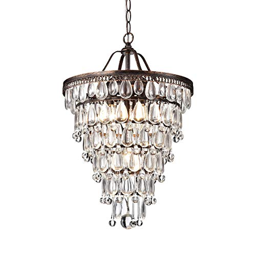 Chandelier Crystal Copper - Cone Shape 4-light Antique Copper Crystal Chandelier