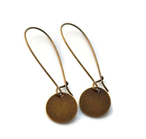 Antiqued Brass Disc Long Kidney Earwire Earrings