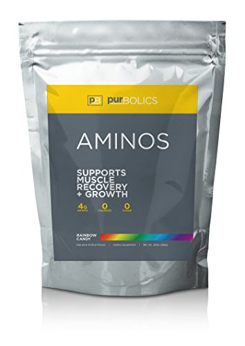 Purbolics Aminos | Supports Muscle Recovery & Growth | 4g of Free-Form Amino Acids, Beta-Alanine, 0 Calories & 60 Servings (Rainbow Candy) For Sale