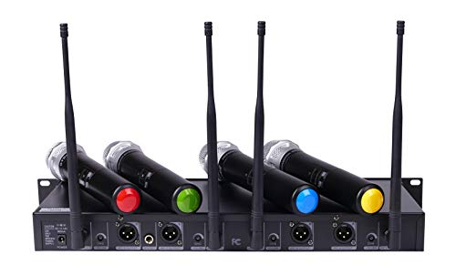 GTD Audio 4x800 Selectable Frequency Channel UHF Diversity Wireless Handheld Microphone Mic System 787 (4 Hand held Mics) by GTDaudio (Image #1)