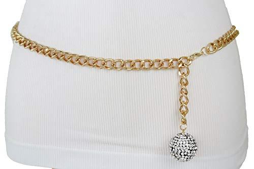 TFJ Women Gold Metal Chain Link Waistband Belt Ball Charm Buckle Plus Size XL XXL ()