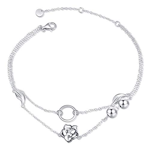 LUHE Rose Barcelets Anklets Sterling Silver Adjustable Rose Flower Layered Chain Anklets Jewelry Gifts