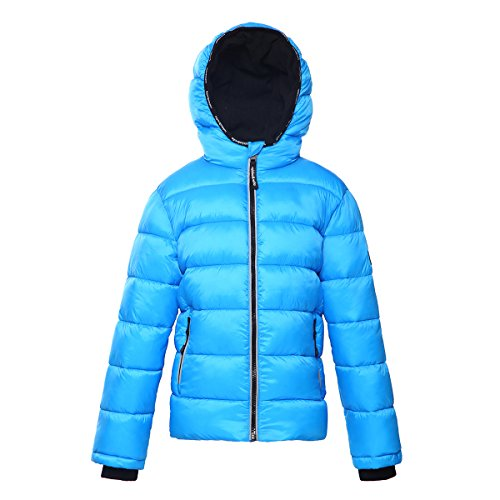 (Rokka&Rolla Boys' Heavy Padded Water-Resistant Hooded Thickened Quilted Puffer Jacket Cool Blue)