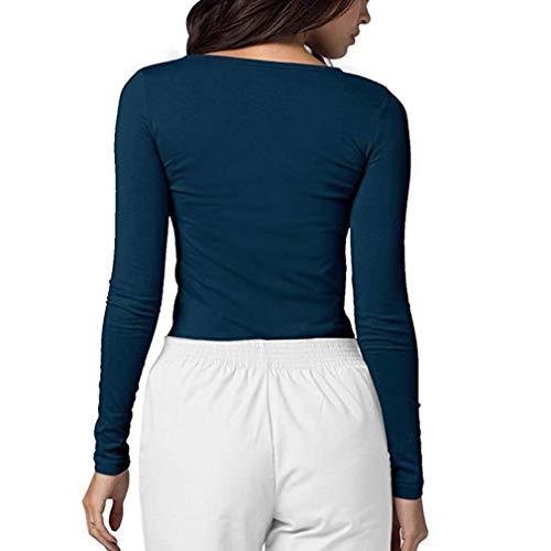 Shirt de Coupe T Chemise Fond Unie Chemisier Slim Tops Manches Longues Marine Couleur Automne Bringbring Femme wqfIBHH