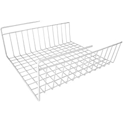 "Under Shelf Wire Rack Basket Kitchen Organizer - White - Easy to Install (12 1/2"" x 12 1/2"" x 5 1/4"")"