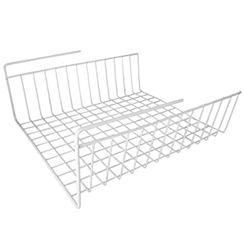 Under Shelf Wire Rack Basket Kitchen Organizer   White   Easy To Install  (12u0026quot;