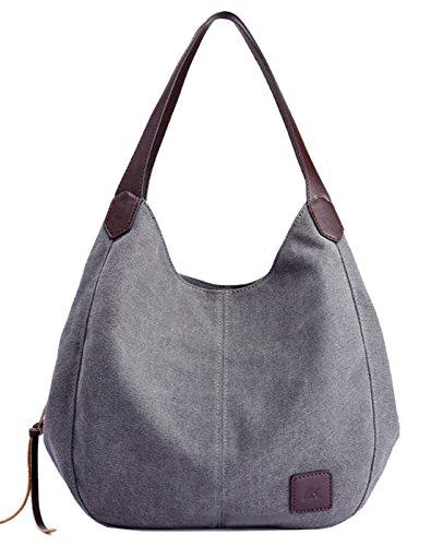 Seaoeey Female Canvas Bag Handbag Simple Shoulder Bag Multi Compartment Purse Gray