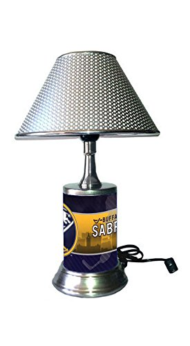 JS Sabres Table Lamp with Chrome Colored Shade, Your Favorite Team Plate Rolled in on The lamp Base, Buffalo S ()