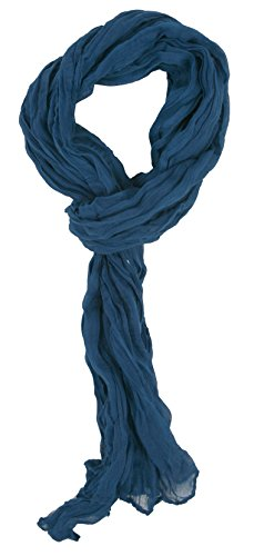 Love Lakeside-Women's Impressionist Watercolor Crinkle Scarf #19 Blue