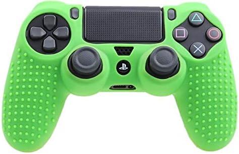 ZSBH アンチスリップシリコンケース保護カバースキンシェルのためにソニーのプレイステーションデュアルショック4 PS4スリムPS4プロコントローラゲームアクセサリ (Color : Army Green)