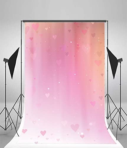 HD Pink Heart Shape Backdrop 5x7ft Upgrade Material Seamless Vinyl Background Photography Wedding Party Photo Studio Props GYMM262