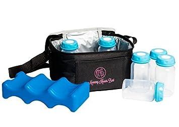 Breastmilk Cooler Bag Set For Nursing Mothers - Includes Baby Bottle Cooler Tote, (6) 5 oz Breast Milk Bottles, (6) Solid Lids, & Contoured Ice Pack for Insulated Storage - Blue Mommy Knows Best