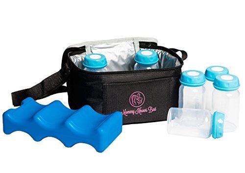 Breastmilk Cooler Bag Set For Nursing Mothers - Includes Baby Bottle Cooler Tote, (6) 5 oz Breast Milk Bottles, (6) Solid Lids, & Contoured Ice Pack for Insulated Storage - - Storage Milk Travel