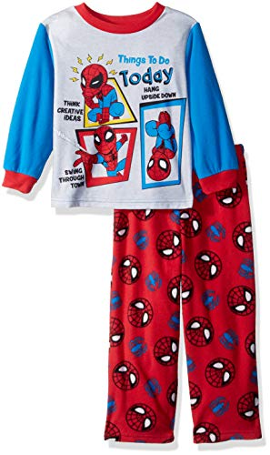 Marvel Boys' Toddler Spiderman 2-Piece Fleece Pajama Set, Busy Spidey, 2T