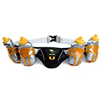 247 Viz Running Hydration Belt - Fits iPhone 8 and Similar - with Four 8oz BPA Free Water Bottles for Any Race (Black)