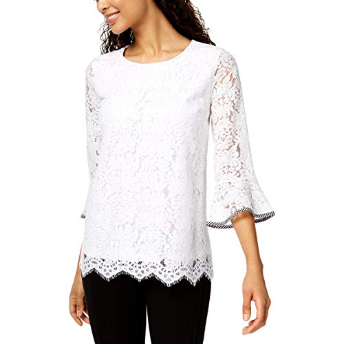Charter Club Lace Bell-Sleeve Top (Bright White, M) from Charter Club