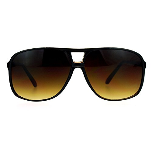 SA106 Oversize Large Thin Plastic Racer Mens Sport Sunglasses Black Brown]()