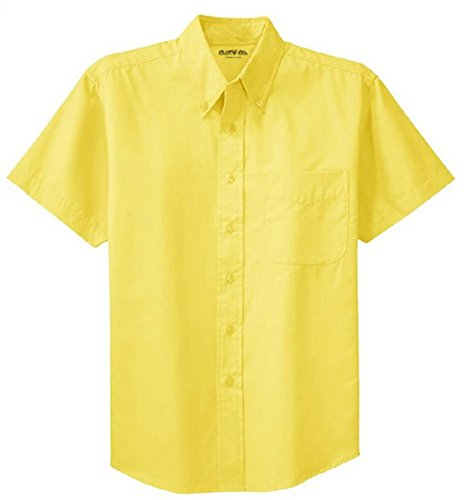 Clothe Co. Mens Short Sleeve Wrinkle Resistant Easy Care Button Up Shirt, Yellow, 2XL