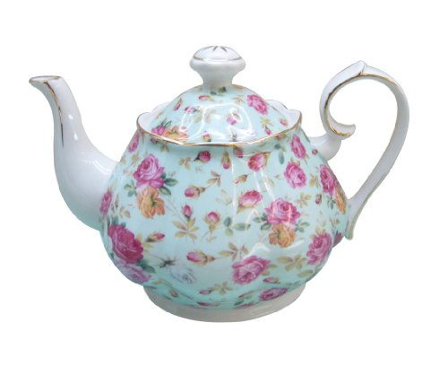 Gracie China Rose Chintz Porcelain 4-1/2-Cup Teapot Blue Cottage Rose