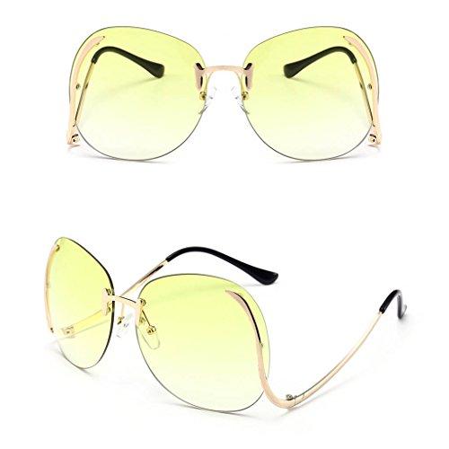 gafas diseño 1 sol de 008 Logres tamaño retro de vintage mariposa de unisex grande Amarillo estilo de con par qtpqwS