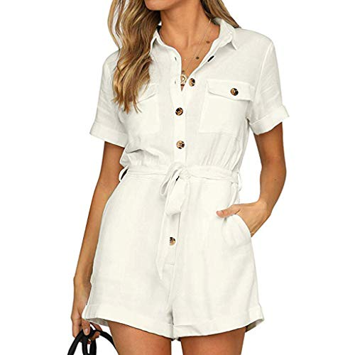 Pongfunsy Women's Jumpsuits, Womens Summer Belted Romper Keywhole Back Short Sleeve Button Down Boho Jumpsuit Playsuit White